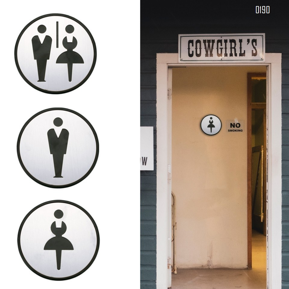 Self Sticker Round Sign  Restroom, Bathroom Door Sign for Offices, Businesses,Stainless Steel Plus Plastic bathroom signs