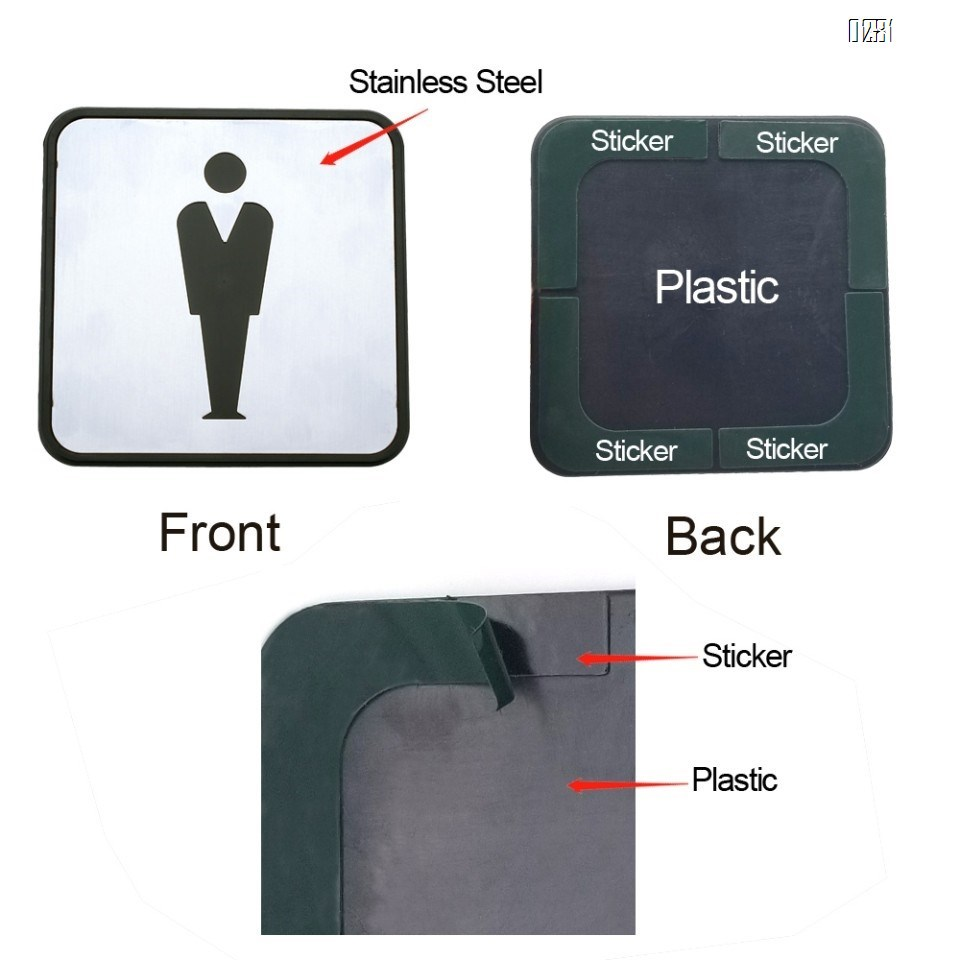 Self Sticker Sign  Restroom,  Bathroom Door Sign for Offices, Businesses,Stainless Steel Plus Plastic bathroom signs