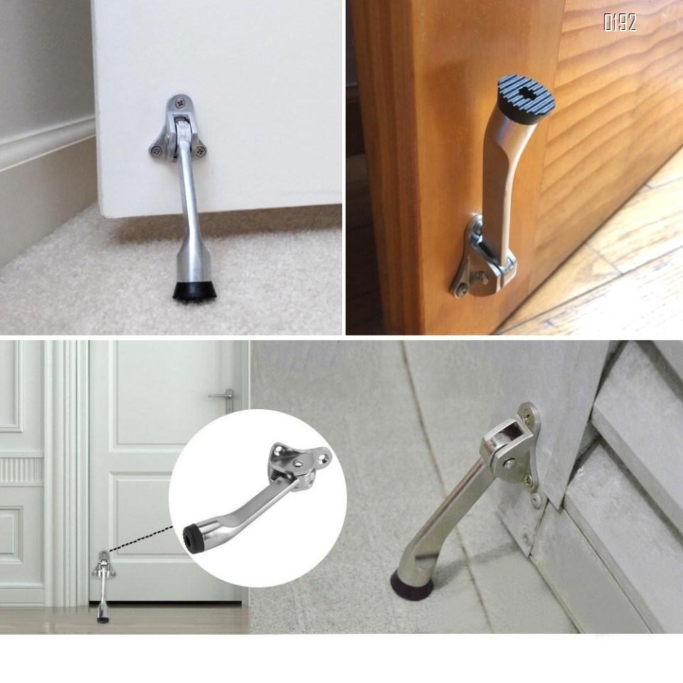 5-Inch Door Stopper Hinge Metal Kickdown Door Stop Door Kickstand with Non-Slip Rubber Tip for Heavy Garage Door