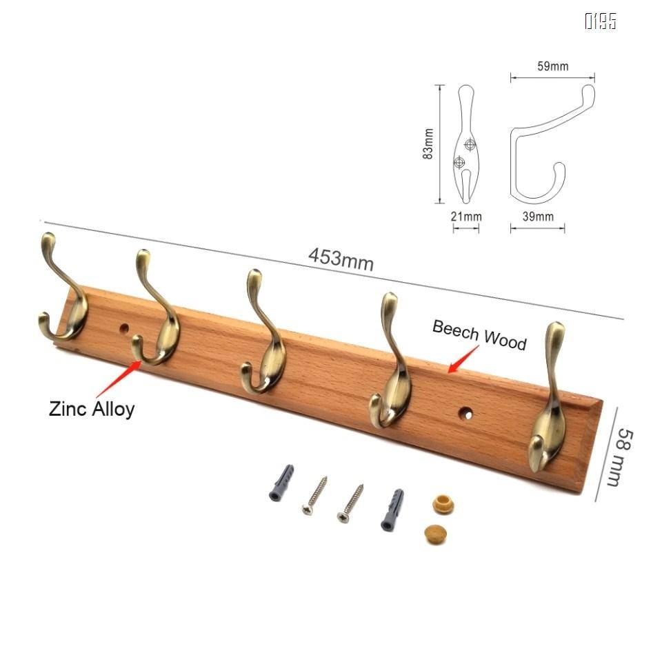 High quality beech and zinc alloy clothes hook   green bronze zinc alloy wooden  hook
