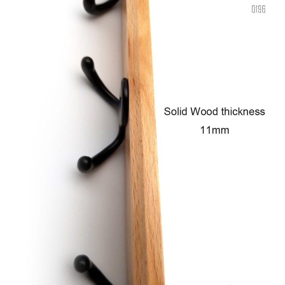 Household wooden  double hook coat rack -4 double hooks - wall hanging - decorative home storage - entrance  foyer corridor bathroom bedroom railing - high quality beech