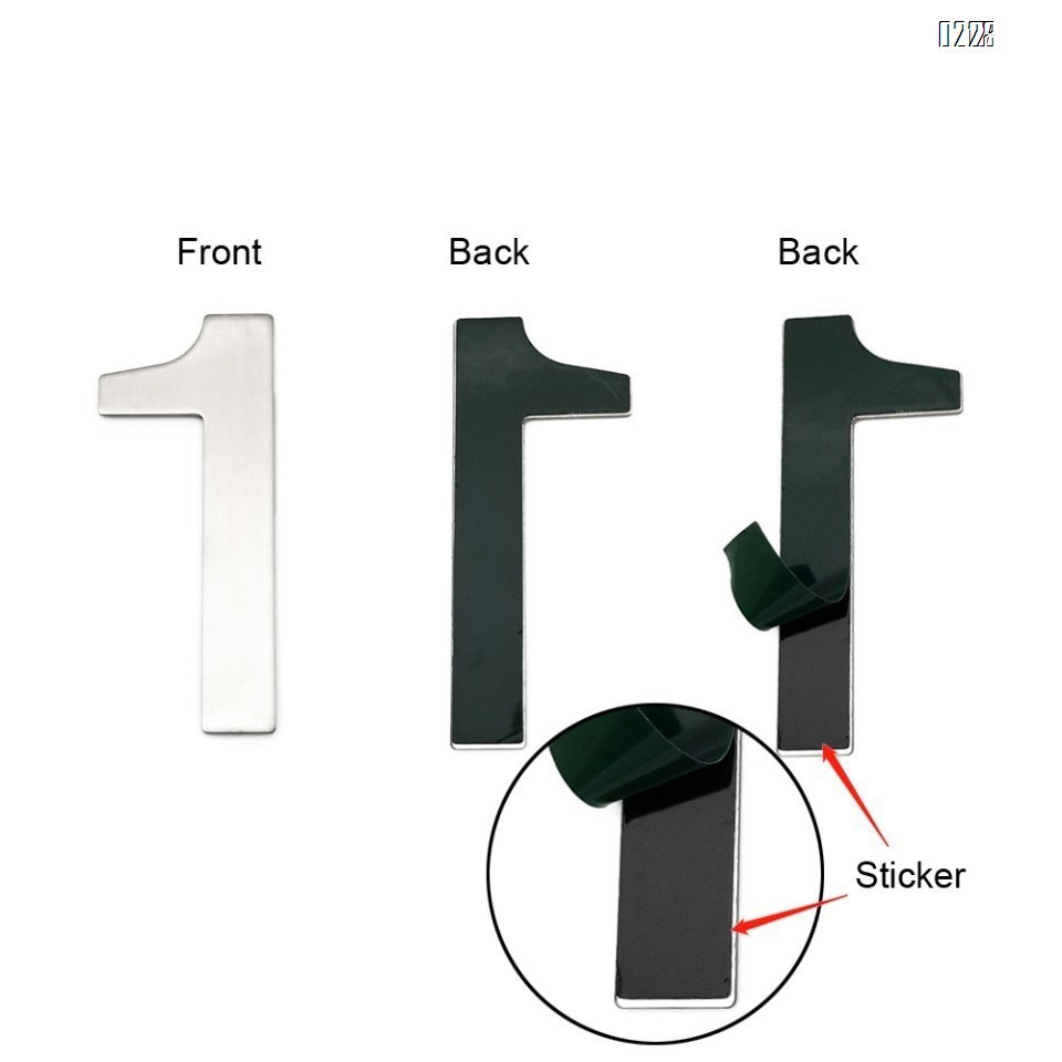 4 Inch House Numbers 1, Door Address Number Stickers for House/Apartment/Floor,  304 Stainless Steel