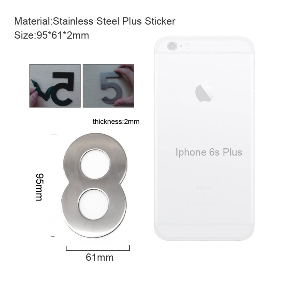 4 Inch House Numbers 8, Door Address Number Stickers for House/Apartment/Floor,  304 Stainless Steel