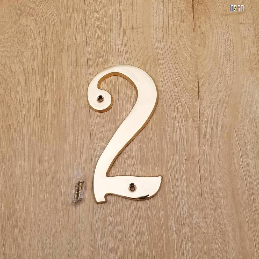 6 inch Copper Plaque for Outdoor Address Plate of Household Door Brass Number in 140 mm Grand Modern Door Number Hotel House Number 2