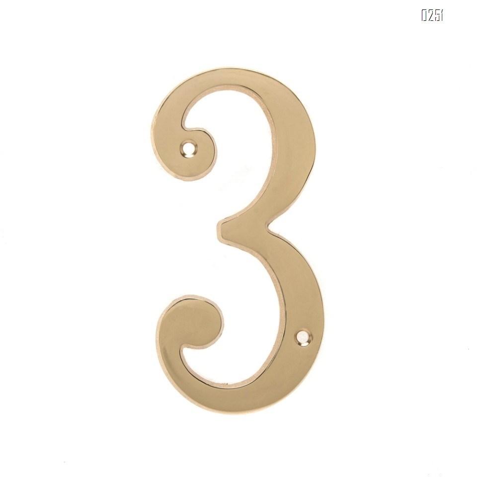 6 inch Copper Plaque for Outdoor Address Plate of Household Door Brass Number in 140 mm Grand Modern Door Number Hotel House Number 3