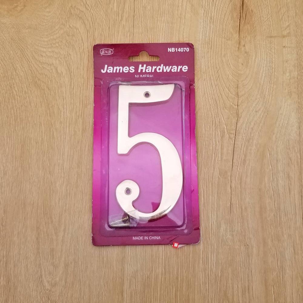 6 inch Copper Plaque for Outdoor Address Plate of Household Door Brass Number in 140 mm Grand Modern Door Number Hotel House Number 5