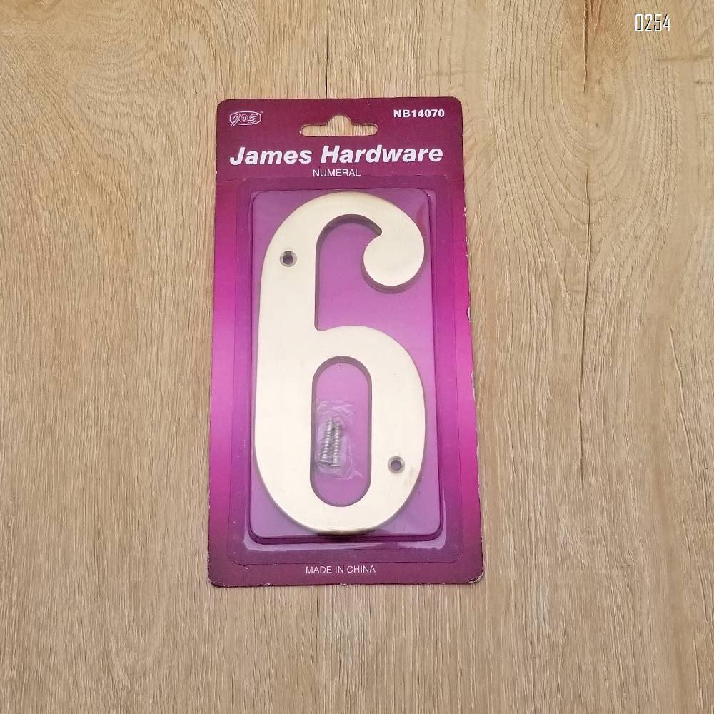 6 inch Copper Plaque for Outdoor Address Plate of Household Door Brass Number in 140 mm Grand Modern Door Number Hotel House Number 6