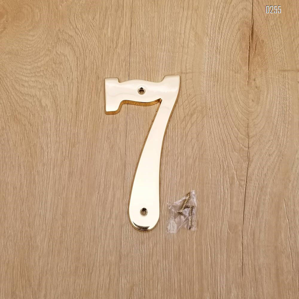 6 inch Copper Plaque for Outdoor Address Plate of Household Door Brass Number in 140 mm Grand Modern Door Number Hotel House Number 7