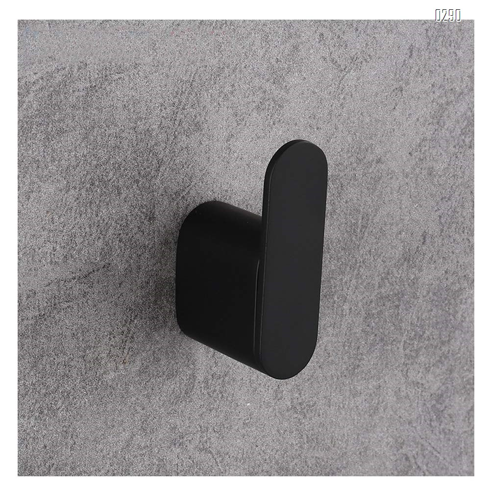 Screw Fix Bathroom Matte Black Coat Hook Zinc Alloy Single Towel/Robe Clothes Hook for Bath Kitchen Garage Heavy Duty Contemporary Hotel Style Wall Mounted