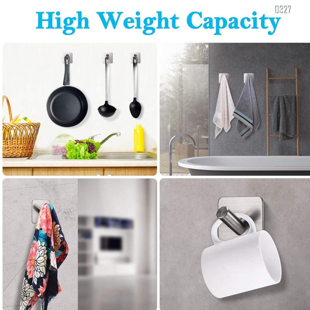 Adhesive Wall Hooks Heavy Duty Hooks for Hanging Wall Hangers Stick on Shower Home Bathroom Kitchen Door Ideal for Robes, Umbrellas, Clothes, Bags, Coats, Keys - Stainless Steel