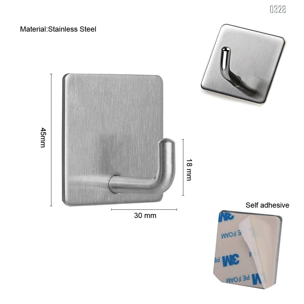 Adhesive Hooks Heavy Duty Stainless Steel Wall-mounted Hanger, Bathroom Office Wall Hook, for Hanging Shower Sticky Hook