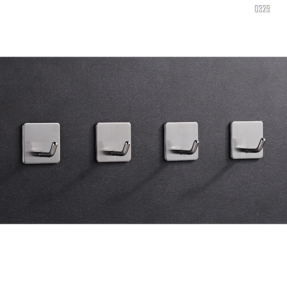 Self-Adhesive Towel Hooks, Wall Hooks, Key Holders, Non-Drill Hanging Solution, for Office/Kitchen/Bedroom/Bathroom, Anti-Fingerprint Stainless Steel 304