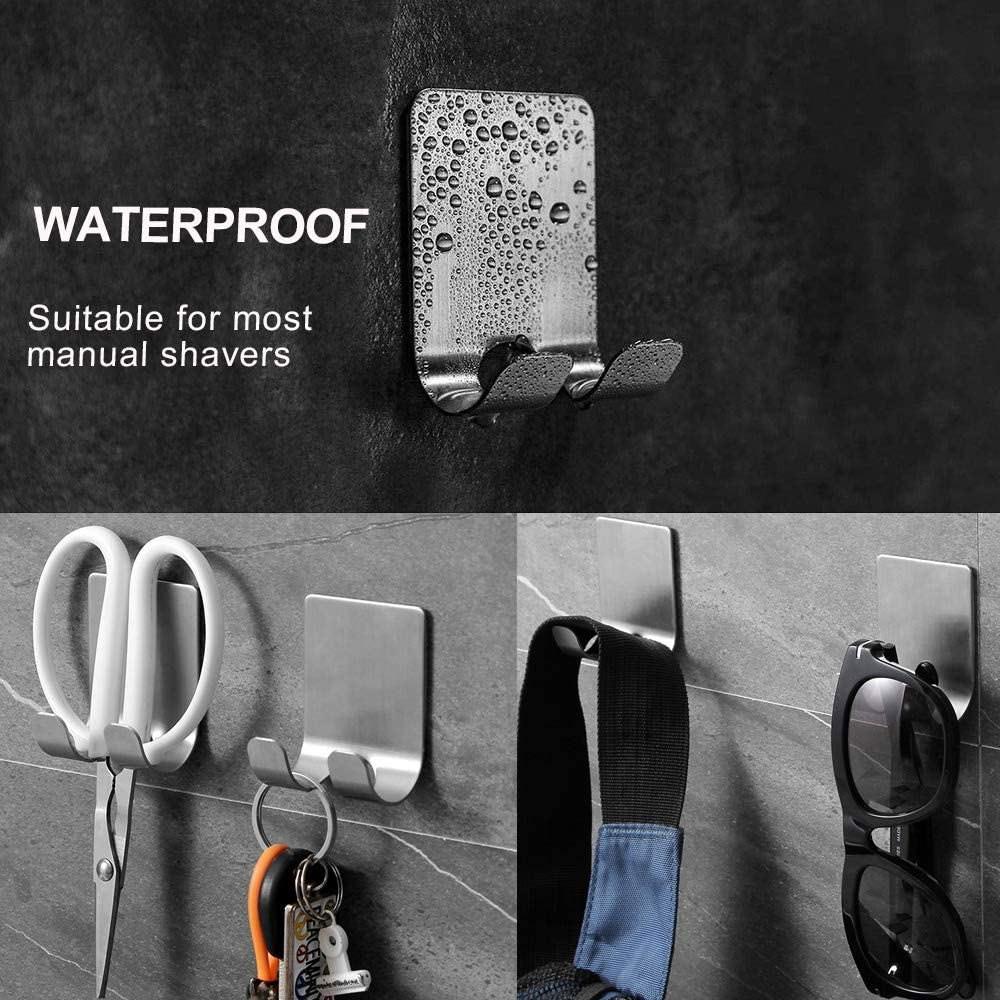 Razor Holder for Shower-Hook Hanger Stand Self Adhesive Stainless Steel Heavy Duty Utility Storage Hook,Shower Hook for Razor Bathroom Kitchen Organizer for Shaver Plug Robe Towel Multi Purpose Hooks