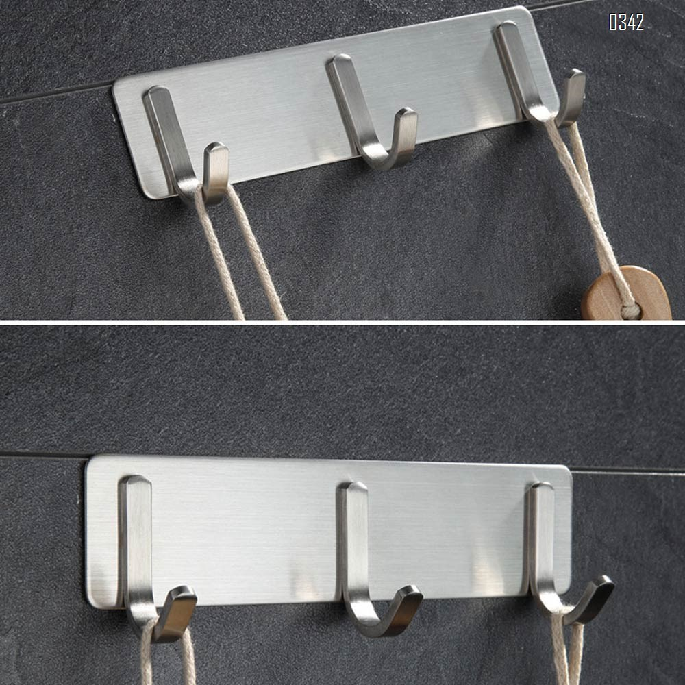 Self Adhesive Coat Hook Rack Wall Mounted Brushed Nickel SUS304 Stainless Steel Bath Towel Hook Coat Rail Double 3 Hooks