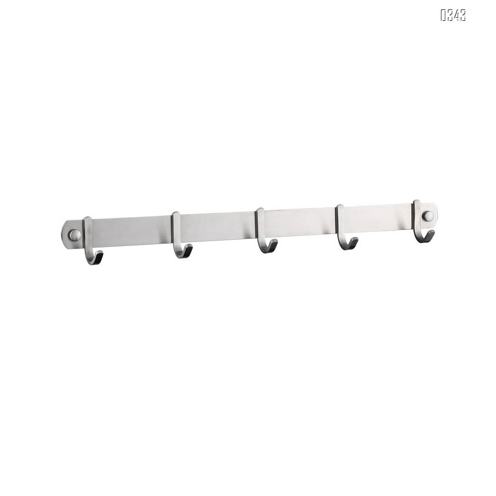 Coat Hook Rack Wall Mounted 18-Inch SUS304 Stainless Steel Brushed Nickel Hook Rail with 5 Heavy Duty Hooks