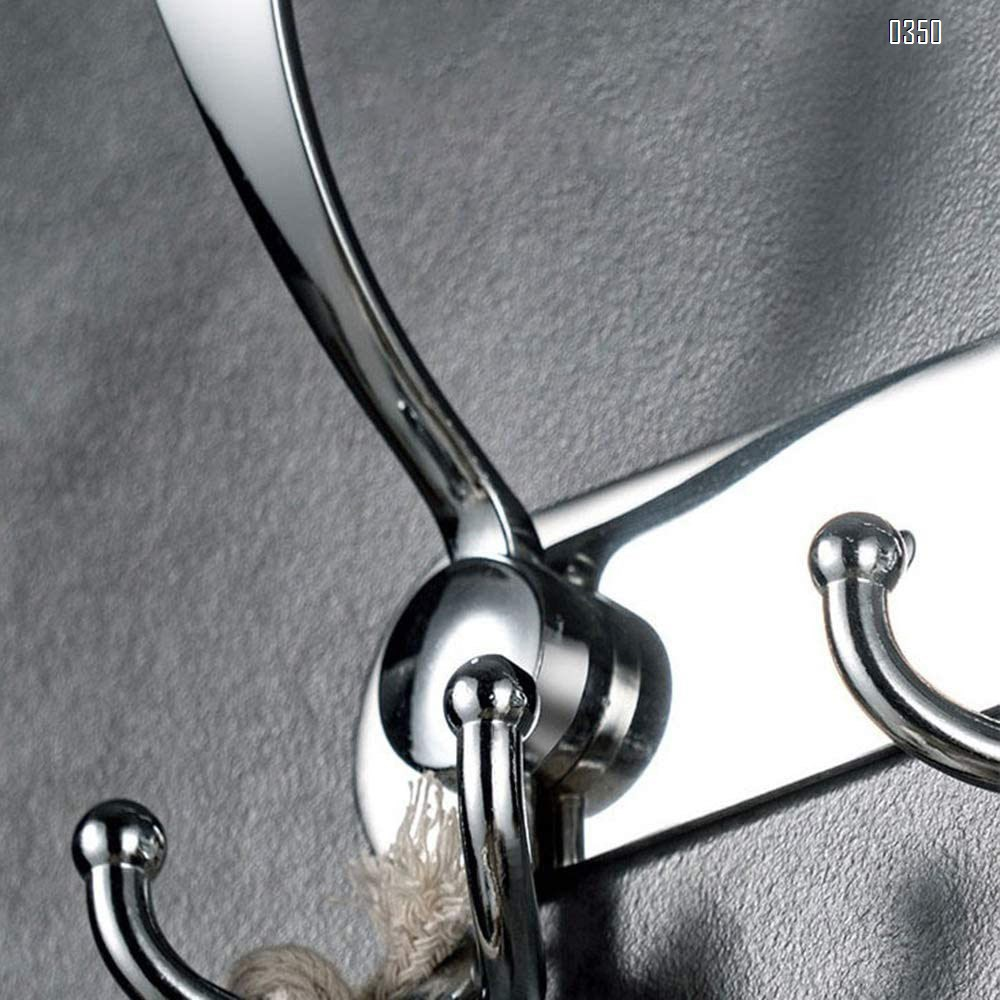 Coat Hat Hook,Metal Robe Rail Rack Towel Hanger with Flared Tri-Hook, for Home,Entryway,Office,Keys,Scarf,Jacket,Backpack,Wall Mounted,Silver