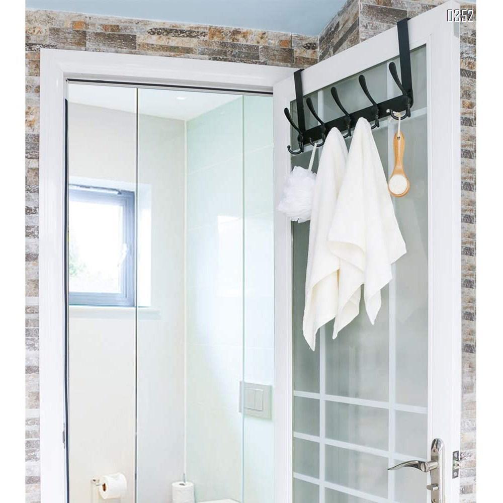 Over The Door Hook 5 Tri Hooks, Assembly Heavy Duty Over Door Hook for Hanging Coats Clothes Towels, Over Door Hanger for Bathroom Bedroom, Silvery