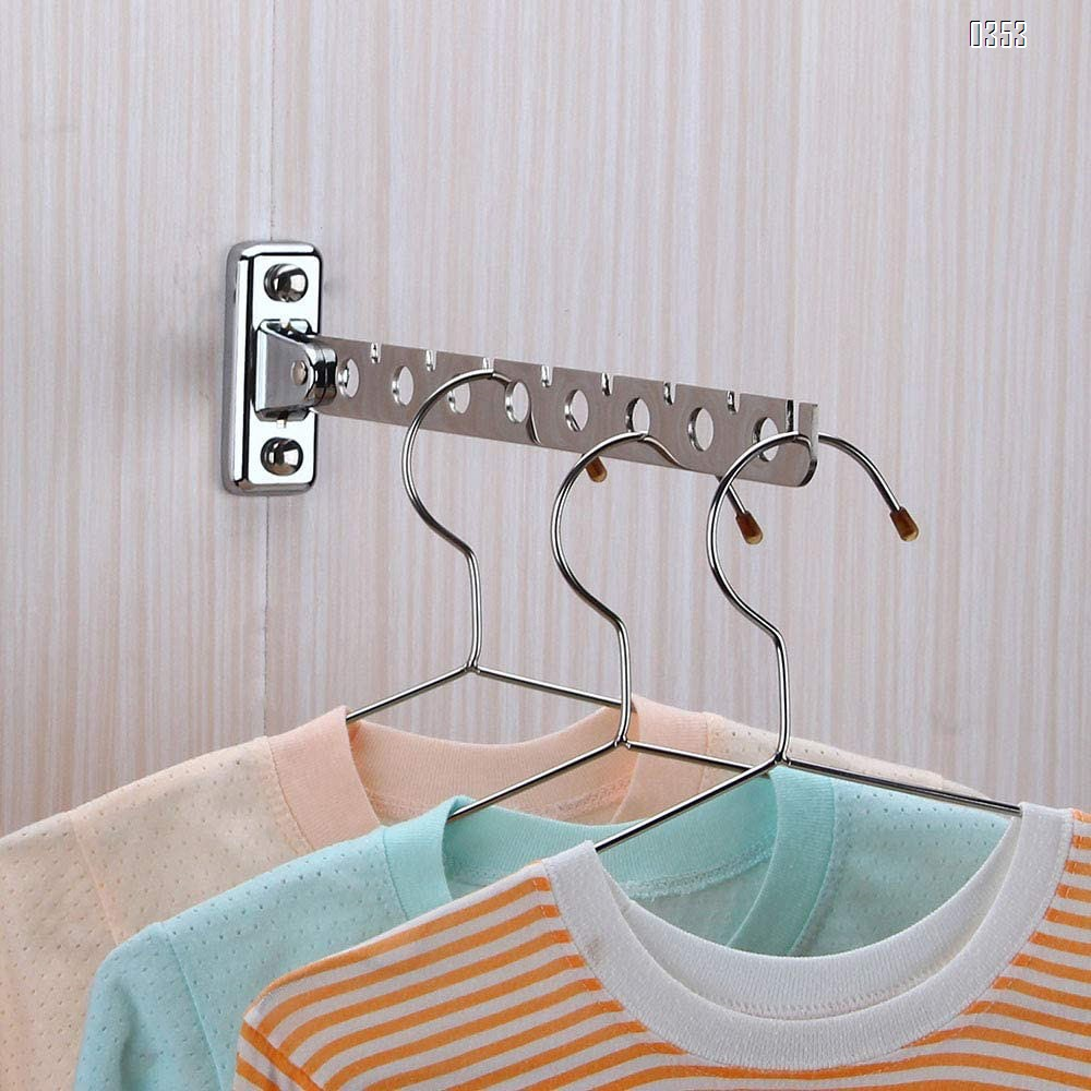 Stainless Steel Folding Swing Clothes Hanger Wall Mounted Clothes Drying Rack Swing Arm Clothing Multiple Hook Bathroom Accessory Closet Systems