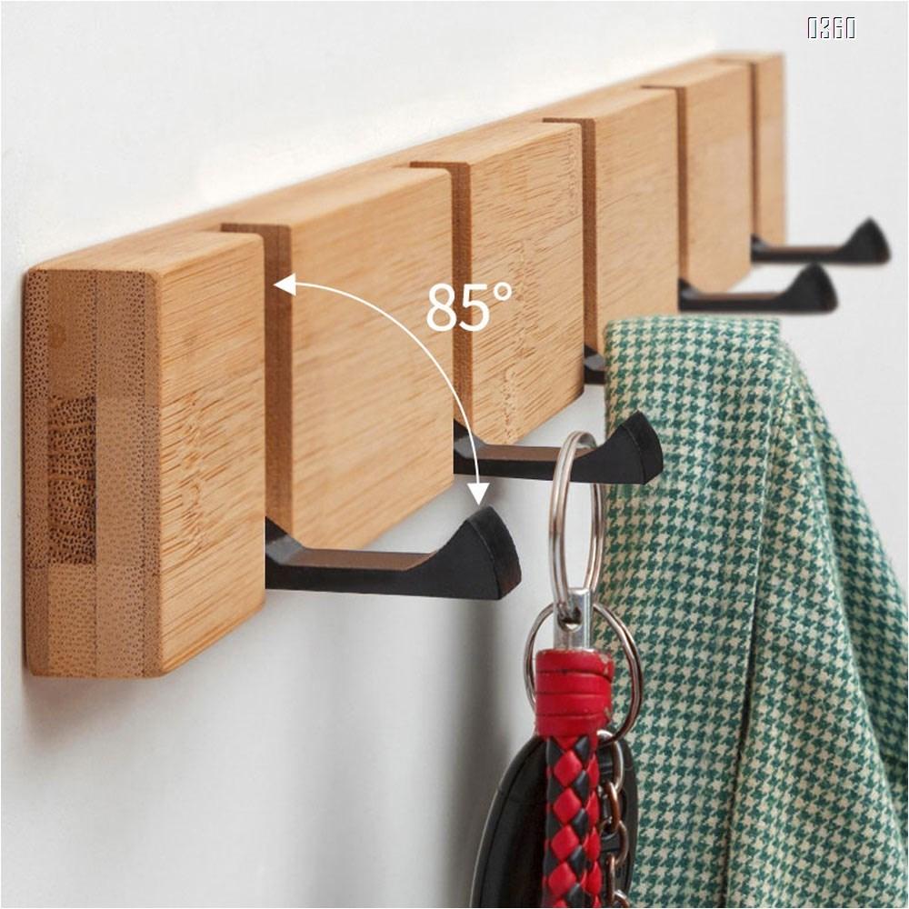 Bamboo Coat Hook Wall Mounted Retractable Coat Rack Sleek Space Saving floating Hooks to Coats Scarfs Purses Hats for Entryway Bedroom Bathroom