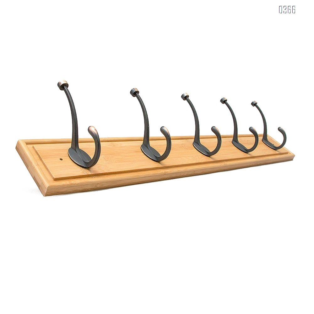 Bamboo Wall Mounted Coat Rack - with 5 Hooks – Modern Decor for Hanging Towels, Keys, Jackets, Dog Leash for Bedroom, Hallway, Entryway, Mudroom