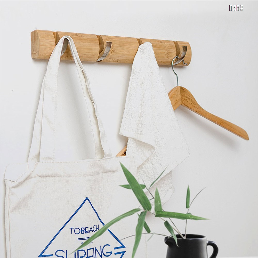 Bamboo Wall Mounted Coat Rack Hooks and Hanger Space Saving with Retractable And Flipped Smooth for Hanging Clothes Plants Towels Pictures Keys Hats Heavy Duty Shower Wall