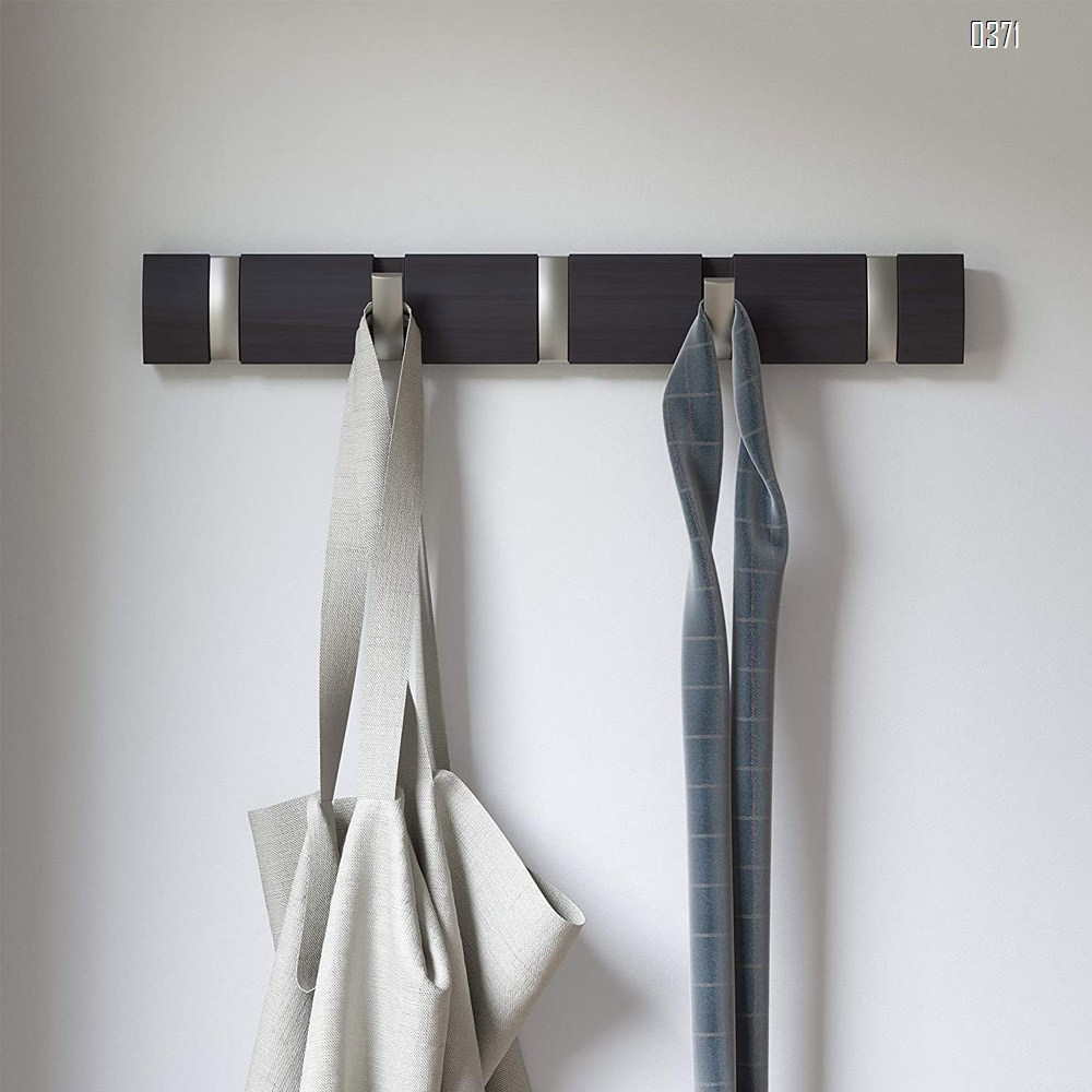 Bamboo 5 Wall Mounted Floating Rack – Modern, Sleek, Space-Saving Hanger with Retractable Hooks to Hang Coats, Scarves, Purses, Driftwood