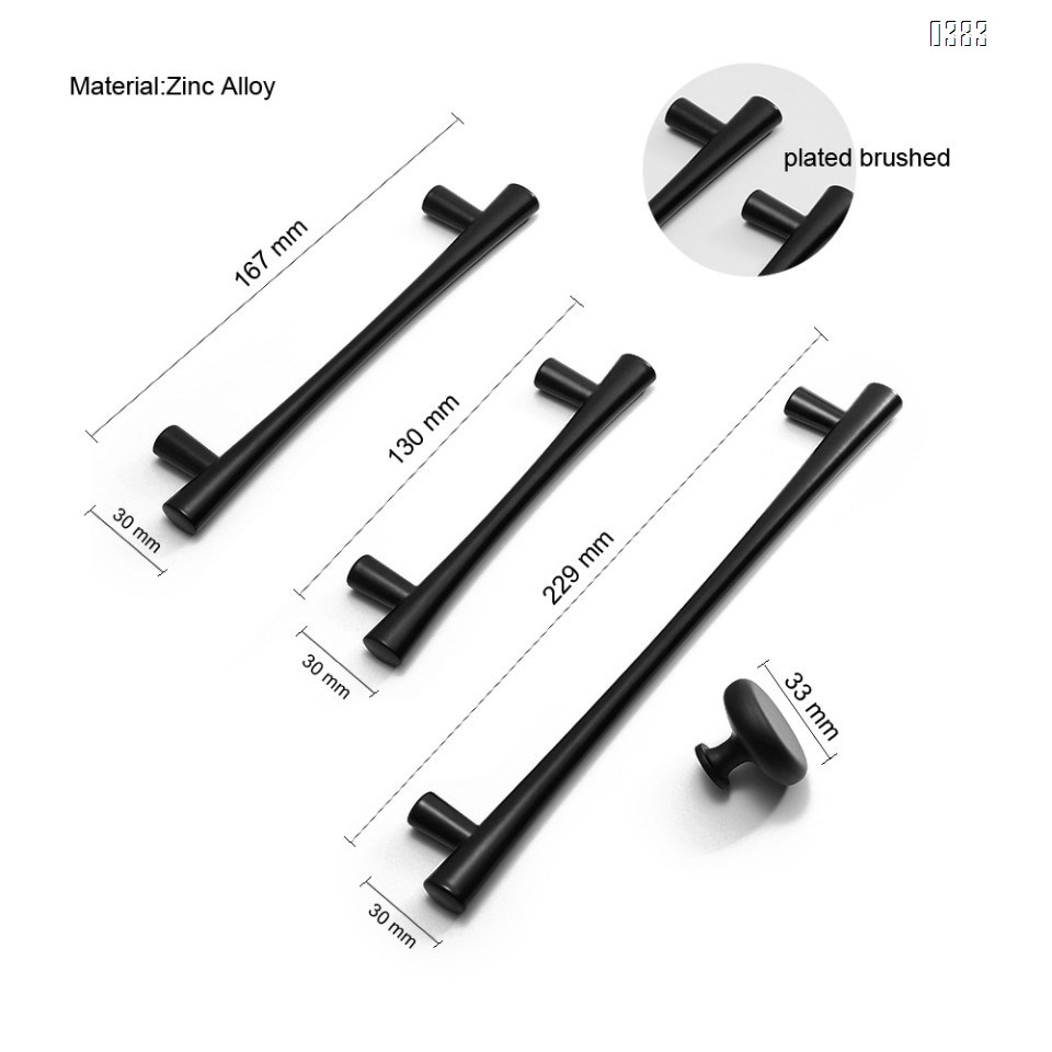 Plated Brushed Cabinet Pulls Matte Black Zinc Alloy Kitchen Cupboard Handles Cabinet Handles 128 mm Hole Center