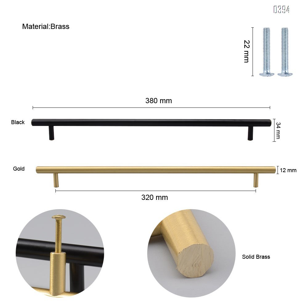 12.5 Inch(320mm) Hole Centers Cabinet Pulls Matte Black And Gold Drawer Pulls Kitchen Cabinet Handles Solid Brass T Bar Pulls for Drawer Flat Kitchen Hardware