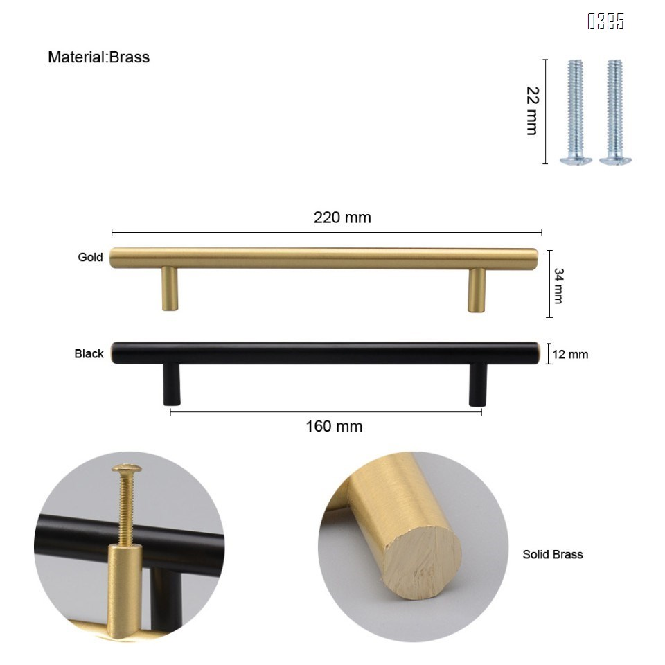 6.3 Inch(160mm) Hole Centers Cabinet Pulls Matte Black And Gold Drawer Pulls Kitchen Cabinet Handles Solid Brass T Bar Pulls for Drawer Flat Kitchen Hardware