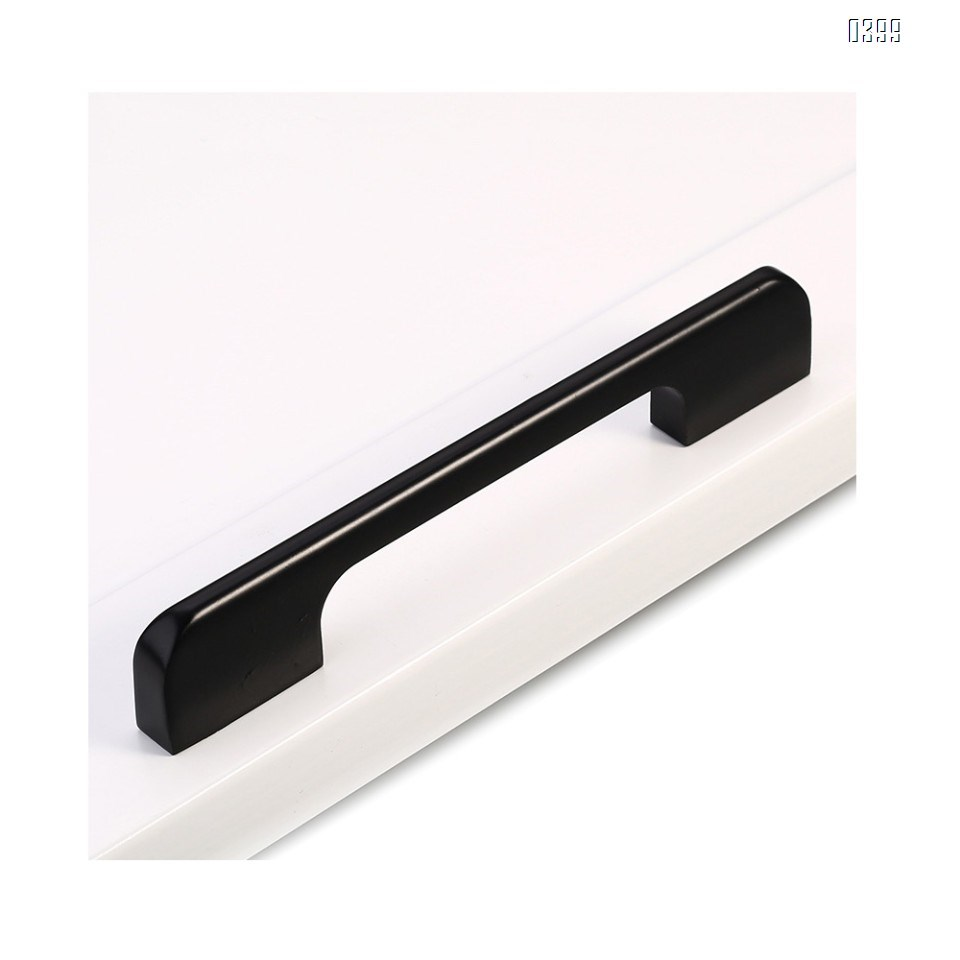Aluminium Alloy Drawer Pulls Kitchen Hardware Cabinet Handles, 3.7 Inch (96mm) Hole Centers, Matte Black