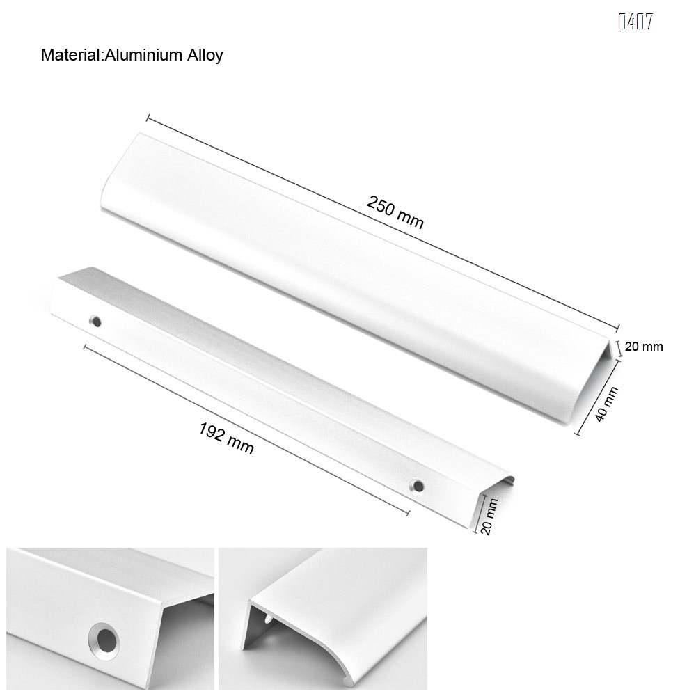 250mm 10 Inch Silver Back Mount Finger Edge Pull Concealed Handle for Home Kitchen Door Drawer Cabinet