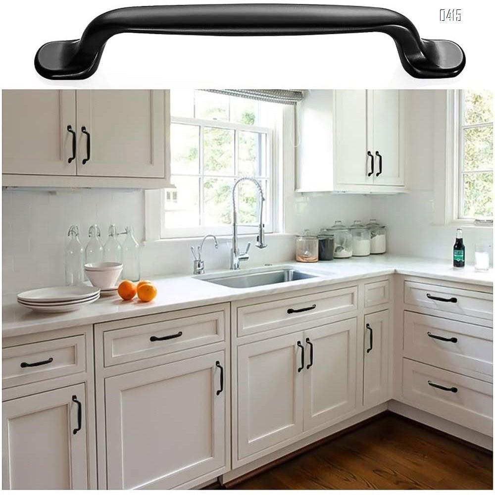 Solid Decorative Cabinet Handles Closet Drawer Dresser Hardware Accessories Door Pulls for Kitchen, Wardrobe, Office, Bath Room Decor, Black Traditional Hole Center 3.7 inch
