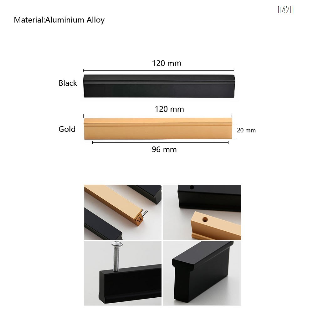 Matt Black And Gold Cabinet Door Handles and Pulls, Furniture Drawer Handles, Aluminium Alloy, 120mm Long, Kitchen Cabinet Wardrobe Knobs Bars, Center to Center 96mm