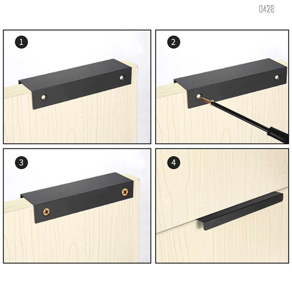 320 mm Hole Center Black And Gold Mount Finger Edge Pull Concealed Handle for Home Kitchen Door Drawer Cabinet