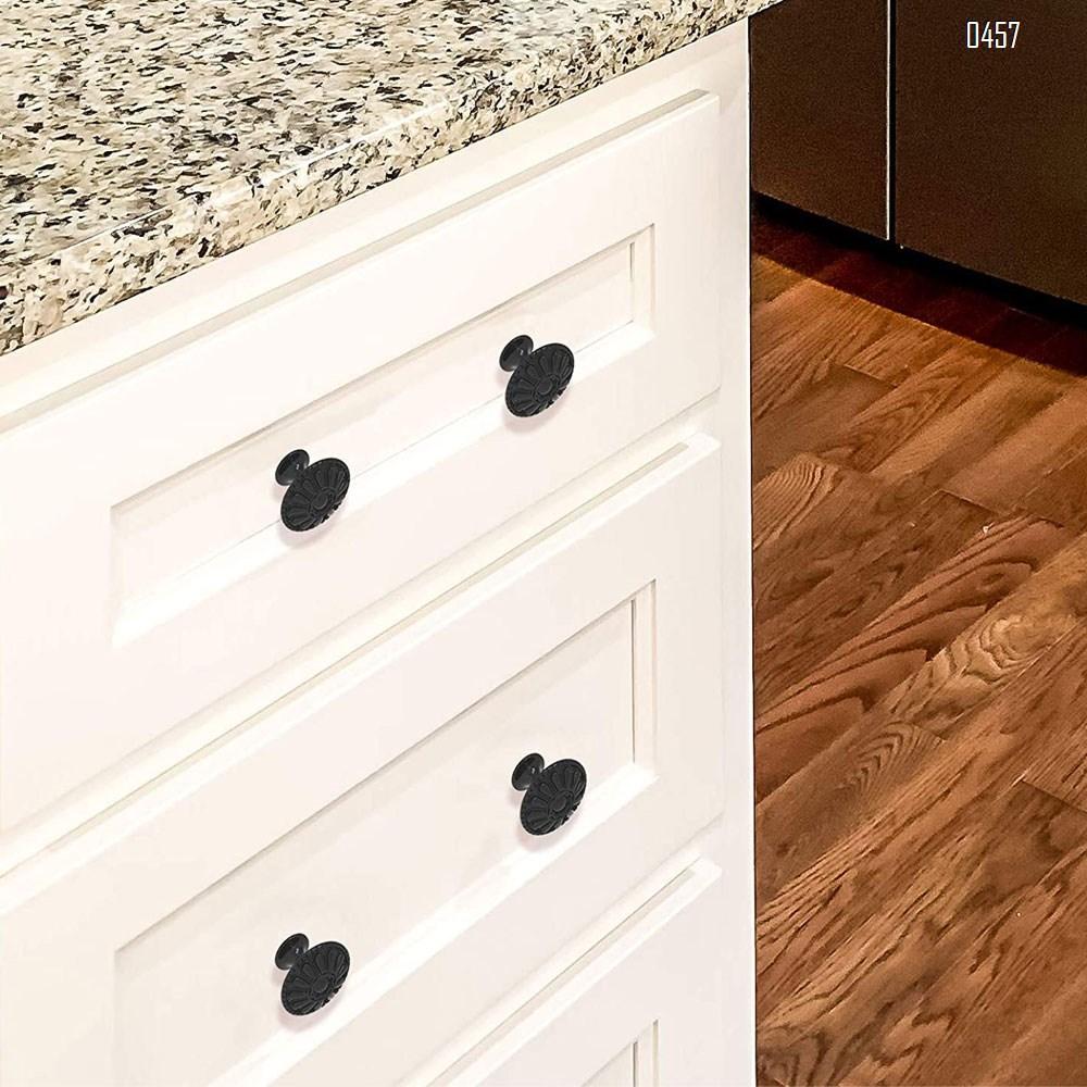 Matte Black Kitchen Cabinet Knobs Pulls, Matte Round Farm Dresser Drawer Handles Hardware for Modern Closet Furniture Door, Victorian Floral Pattern
