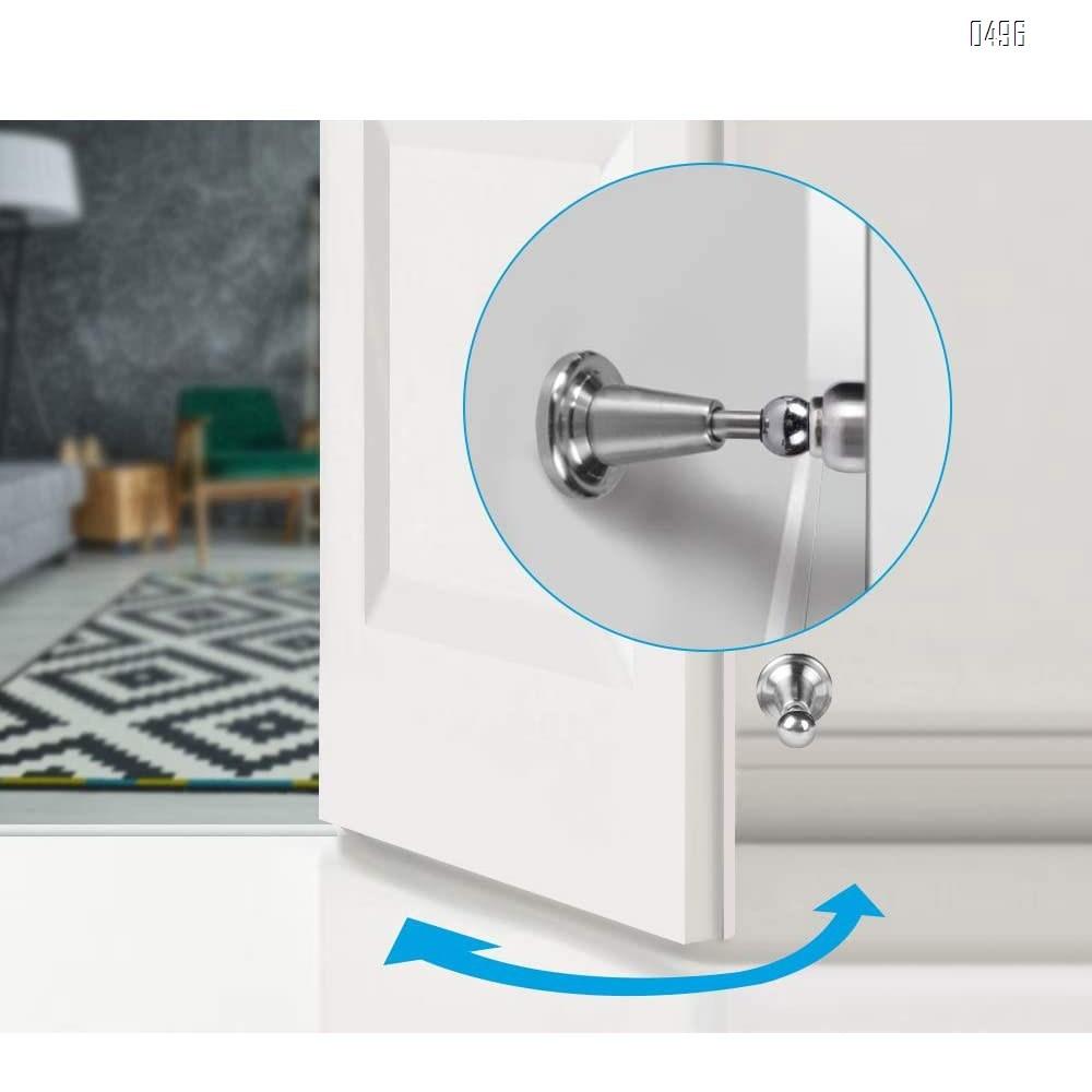 Door Stopper, Magnetic Door Stop, Soft-Catch Magnetic Door Catch, Door Hold Open, Stainless Steel, Brushed Satin Nickel Chrome, Hold Your Door Open Softly, Wall Mount