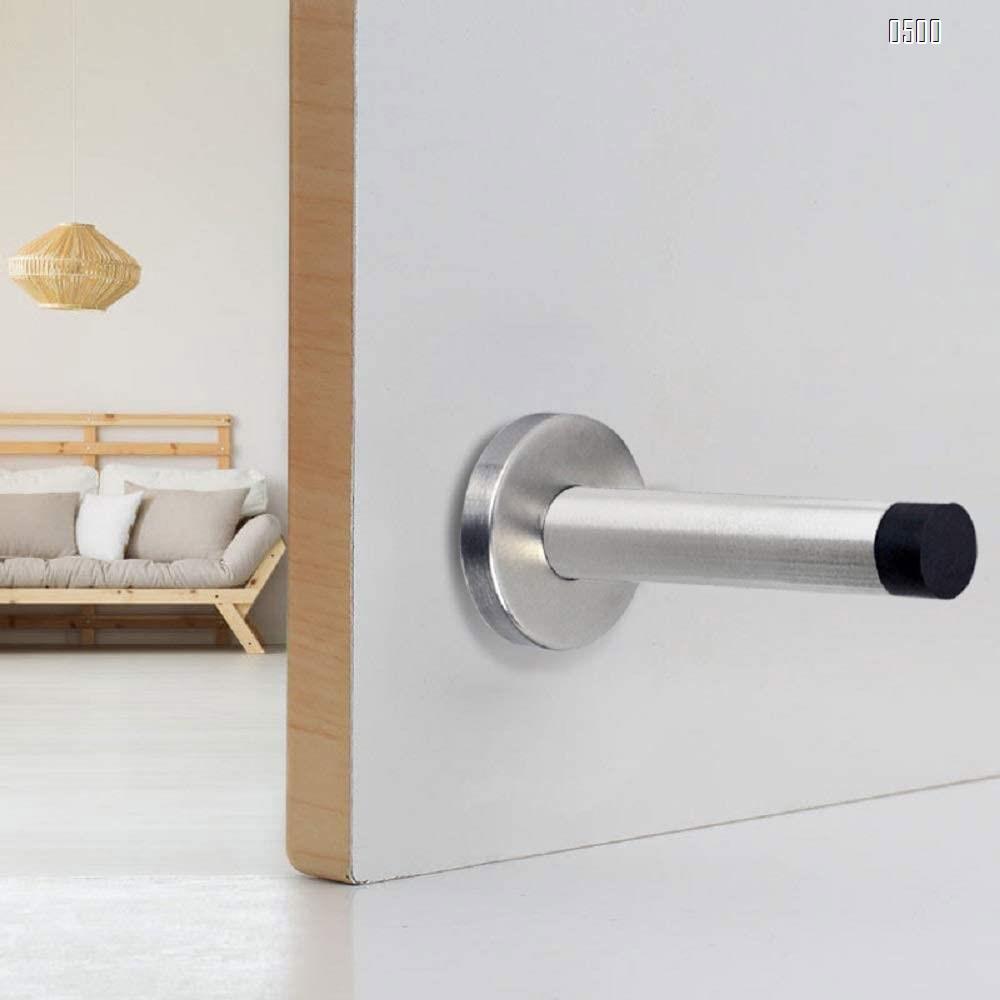 Door Stop, Long Door Stopper, 6 Inch Large Modern Brushed Metal Doorstop Door Holder with Mute Rubber Tip, Heavy Duty Commercial Stainless Steel Solid Doorstopper, Door Stopper Wall (Silver)