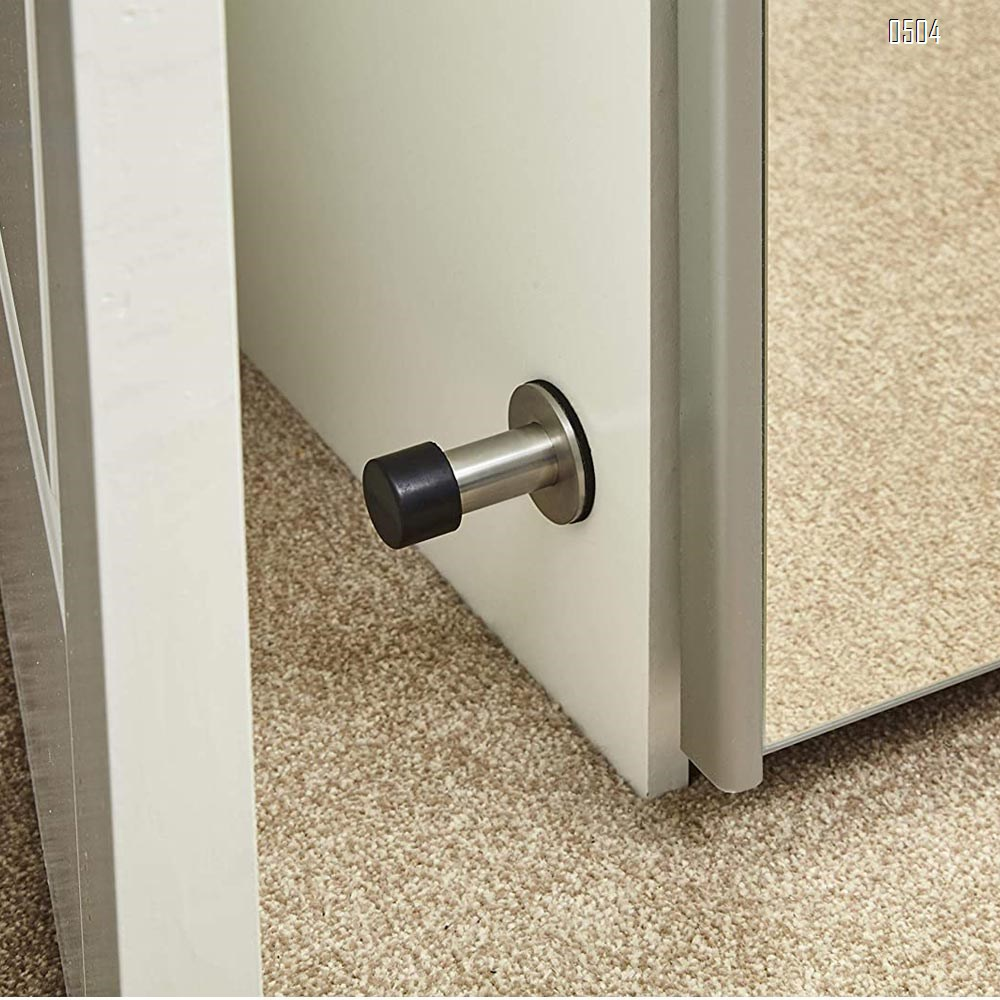 Adhesive Mounted Stainless Steel Door Stop with Sound Dampening Bumper Top for Doors, 6cm