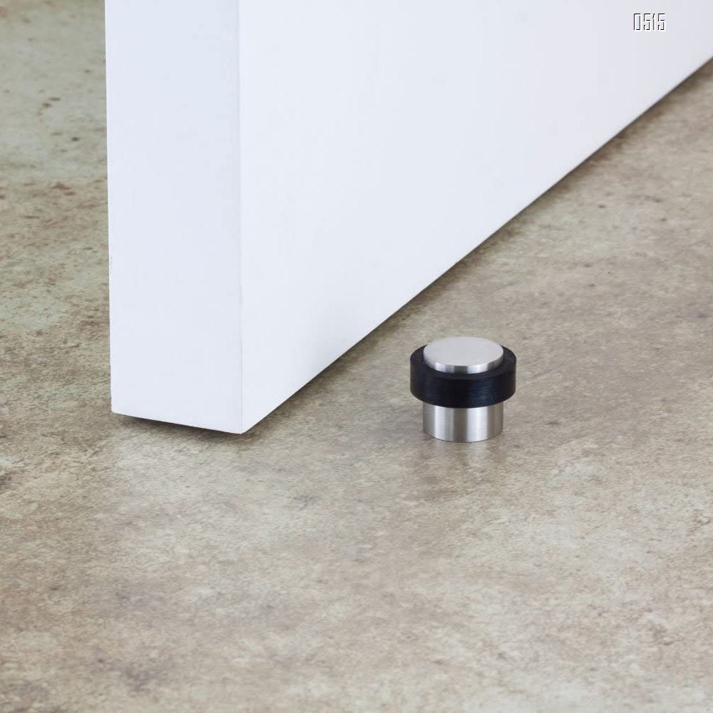 Stainless steel door stopper with black shock-absorbing rubber