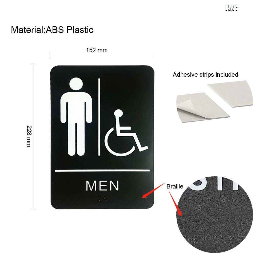 Men's Braille Restroom Sign - Durable Quality Self Stick Washroom/Bathroom Door Placard w/Embossed Braille Lettering and Symbol for Restaurants, Businesses and Hotels