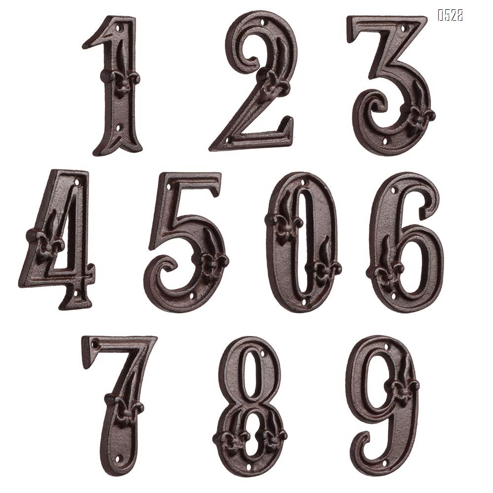 Cast Iron House Numbers 4.7 Inch Home Street Address Plaques Door Number Sign with Classic Anchor Finished