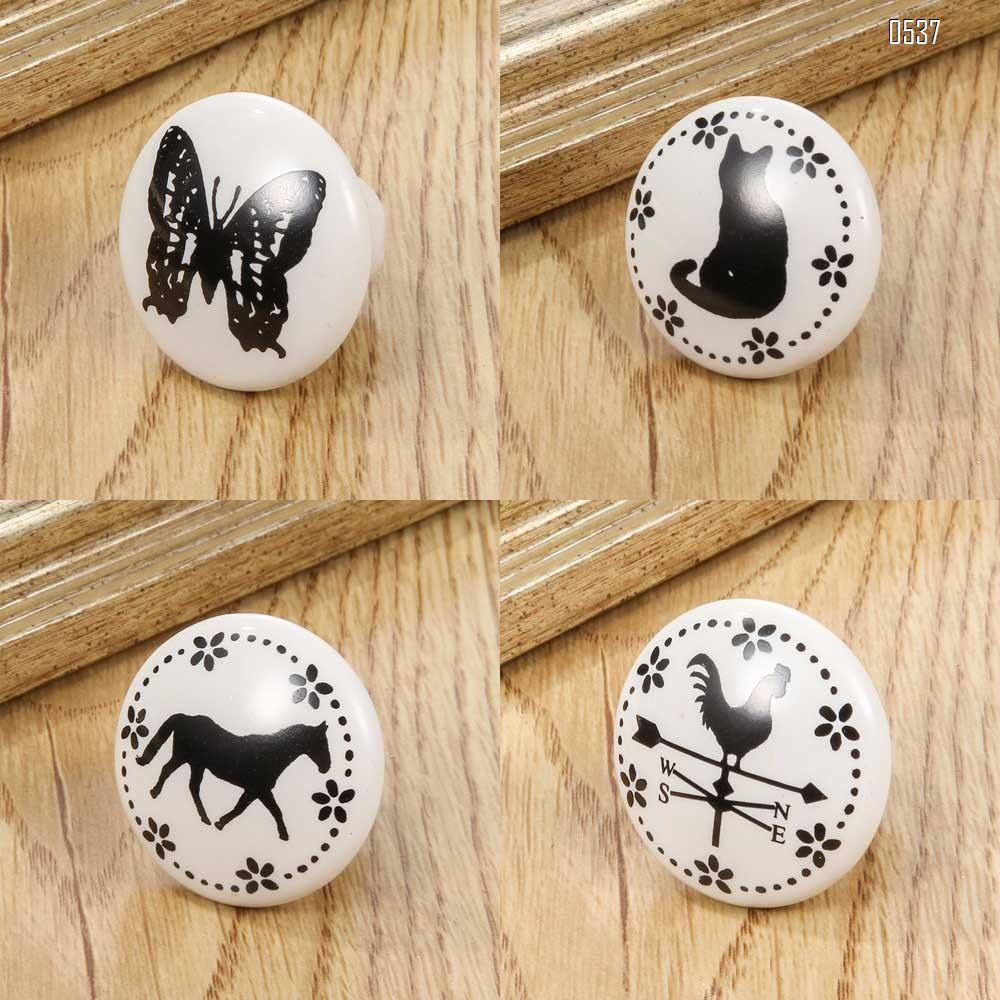 White Print Ceramic Door Knobs And Handles Furniture Drawer Knobs Cupboard Door Handles Single Hole Cabinet Handles With Screws