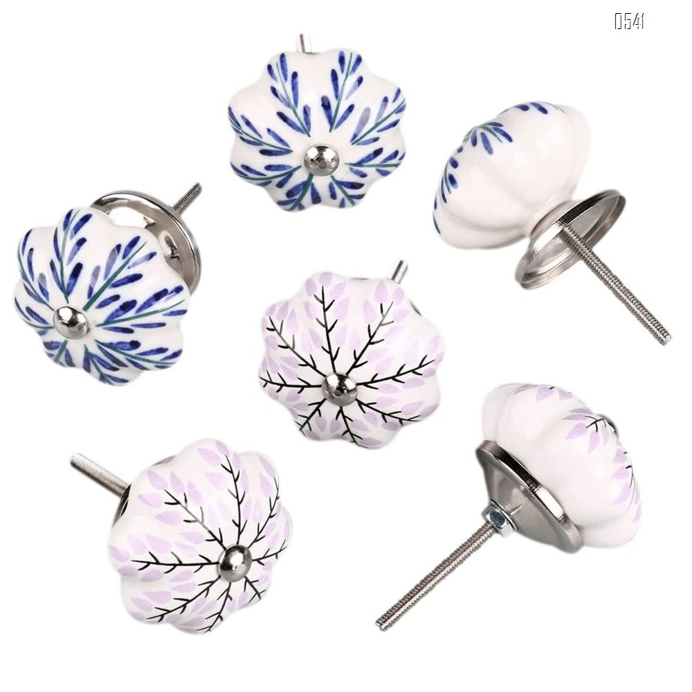 Vintage Shabby Knobs Blue and Pink Floral Hand Painted Ceramic Pumpkin Cupboard Wardrobe Cabinet Drawer Door Handles Pulls Knob
