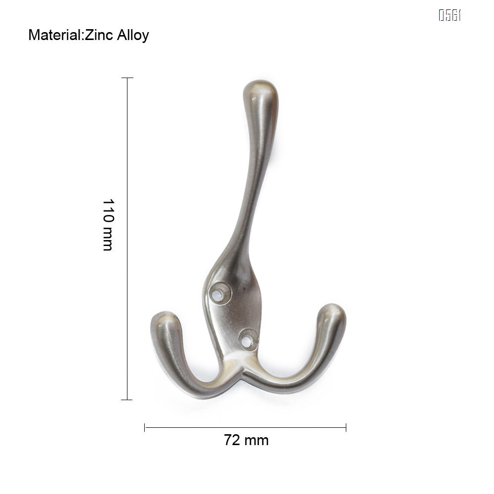 Zinc Alloy Hook With Three Prongs Ambipolar TriLeg Hook, Heavy Duty Big Triple Leg/Double Coat Hooks Base. Entryway Coat Hooks, Scarf and Jacket Hangers