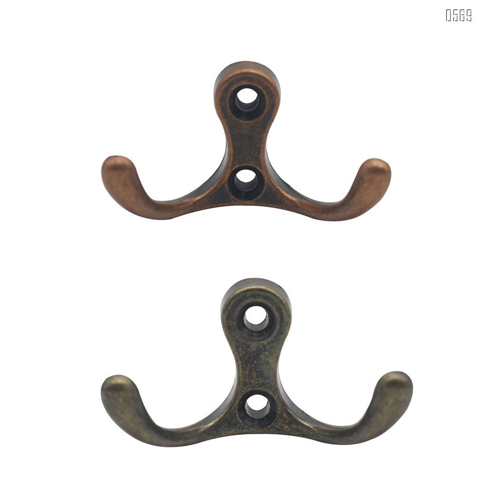 Double Prong Robe Coat Hooks Hard Ware,Dual Utility Zinc Alloy Hooks for Wall Mounted Screws Hanging Heavy Duty Items