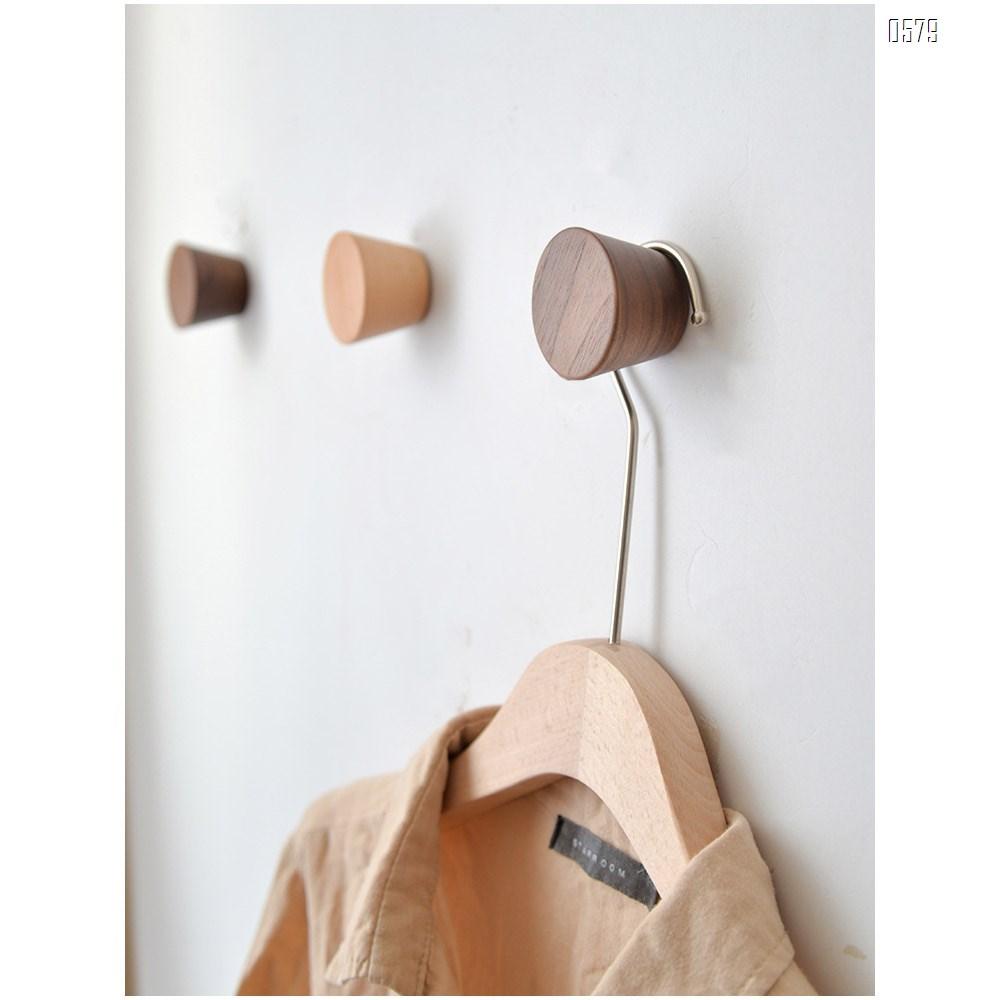 Natural Wooden Coat Hooks,Wall Mount Single Hat Bag Hooks,Decorative Cone Hooks