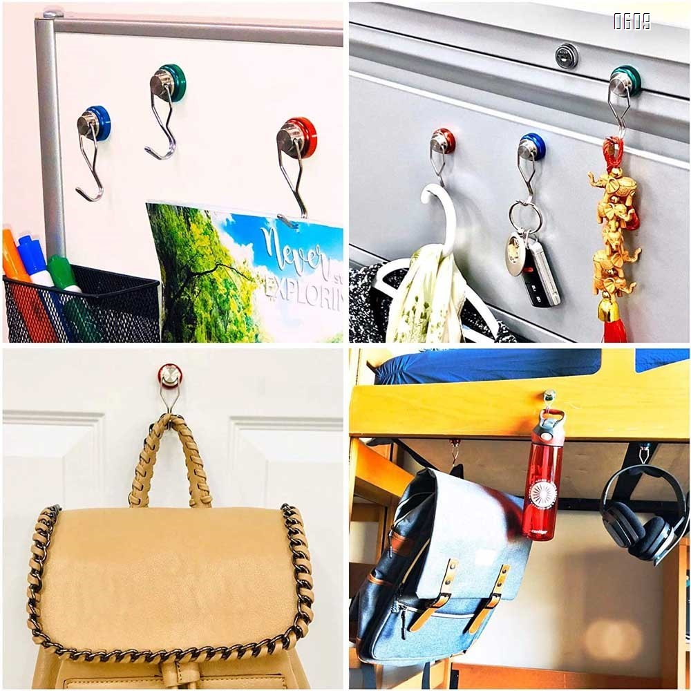 88lb Colorful Swivel Magnetic Hook - Heavy Duty Neodymium Magnets for Refrigerator Door Key BBQ Grill Locker Coat Powerful Magnetic Wreath Hanger Strong Magnetic Hooks for Cruise Cabins