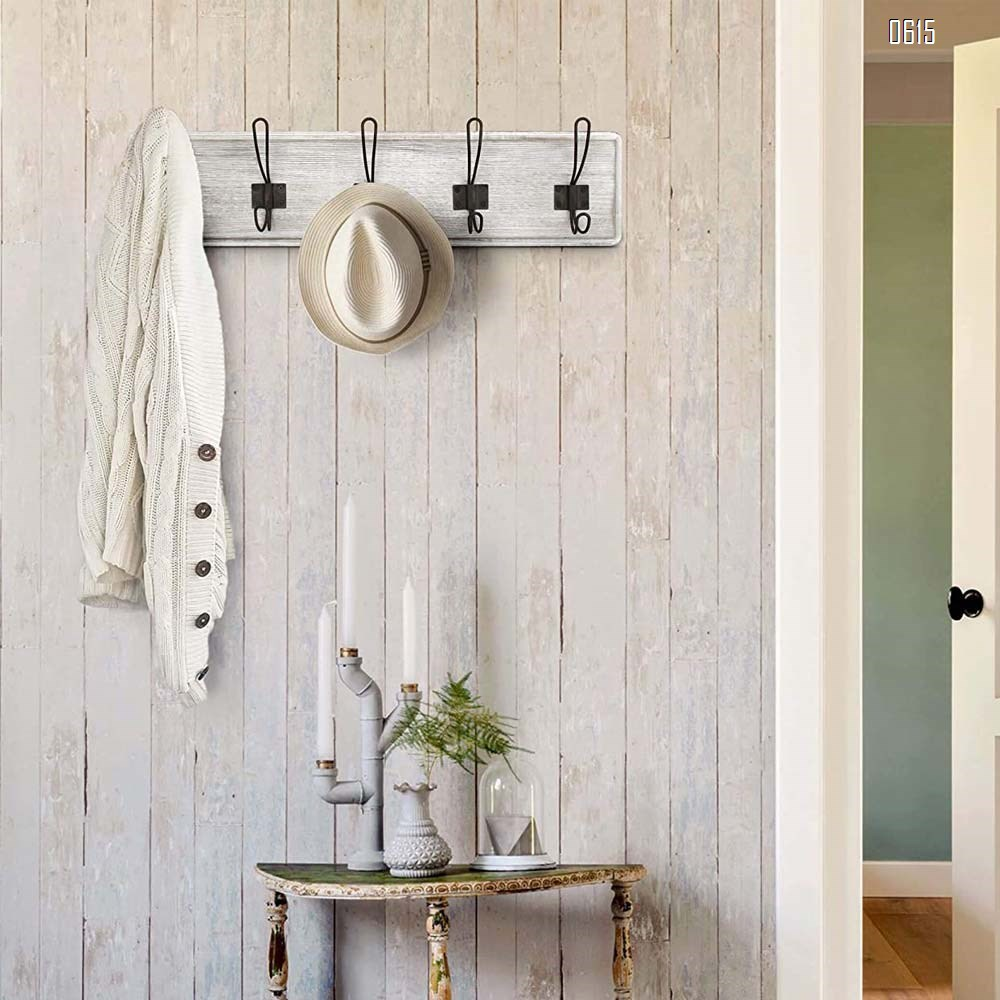 Whitewash Rustic Coat Rack - Wall Mounted Wooden 24 Inch Entryway Coat Hooks - 5 Rustic Hooks, Solid Pine Wood. Perfect Touch for Your Entryway, Kitchen, Bathroom