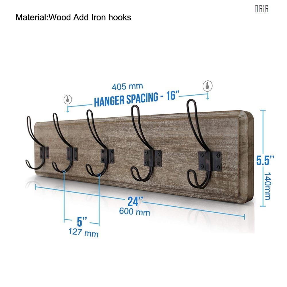Weathered Brown Rustic Coat Rack - Wall Mounted Wooden 24 Inch Entryway Coat Hooks - 5 Rustic Hooks, Solid Pine Wood. Perfect Touch for Your Entryway, Kitchen, Bathroom