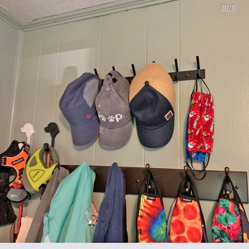 Coat Rack Wall Mounted,6 Hooks Coat Hooks for Hanging Coats,Heavy Duty Metal Hook Rack Rail with 6 Double Dual Hooks Coat Hanger Wall Mount